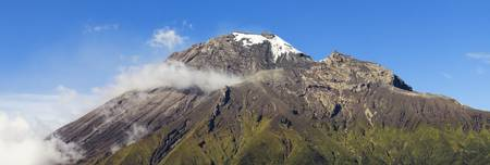 crater highlands: Tungurahua volcano panorama, one of the most active volcanoes in south america. Stock Photo