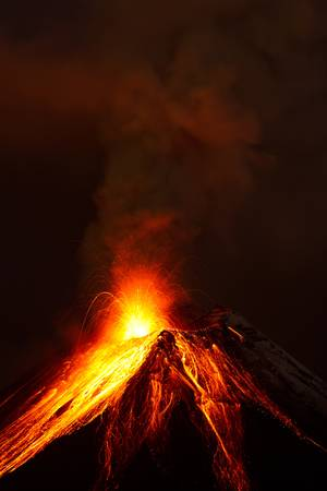 volcanic landscape: Tungurahua volcano exploding in the night of 28.11.2011,Ecuador  Stock Photo
