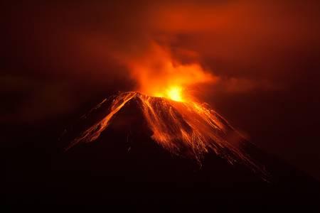active volcano: Tungurahua volcano exploding in the night of 30.11.2011,Ecuador  Stock Photo