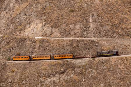 diablo: Train going up on Nariz del Diablo, very important tourist attraction in Ecuadorian Andes, one of the highest railorad route in the world