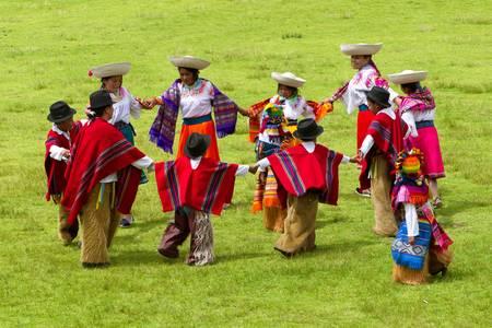 Lloa,Ecuador - 29 May 2011: Group of Ecuadorian dancers dressed up in traditional costumes dancing for the spring festival of Lloa,Ecuador - 29 May 2011 Editorial