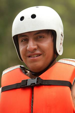 lifejacket: Adult man wearing typical water sport outfit Stock Photo