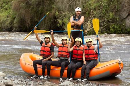 Large group of young people read to go rafting Stock Photo