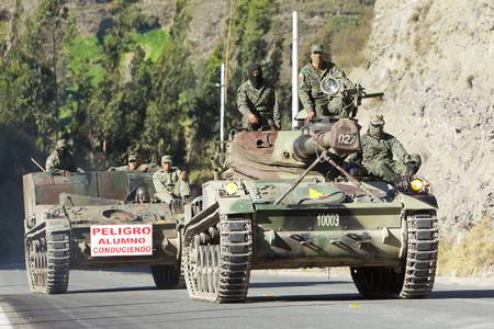 RIOBAMBA,ECUADOR - 13 JUNE 2012: Army tanks patrooling the streets of Riobamba during an exercise on 13 JUNE 2012