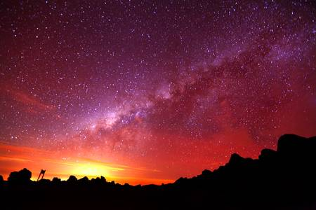 milky way: Melkweg schot van 5000m hoogte op Chimborazo vulkaan in Ecuador.