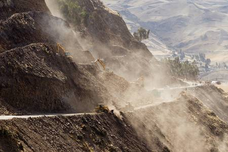 Road building in Ecuadorian Andes at high altitude, horizontal. photo