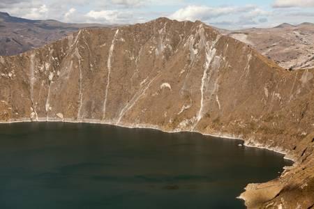 inactive: quilotoa crater lagoon  in Ecuadorian Andes. inactive volcano. Stock Photo