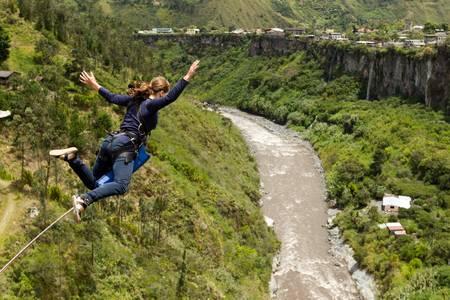 cliff jumping: bungee jumping sequence in banos de agua Santa, Ecuador, san francisco bridge