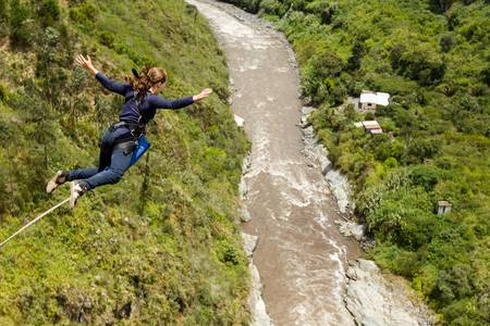 caida libre: Secuencia Puenting en Ba�os de Agua Santa, Ecuador, San Francisco puente
