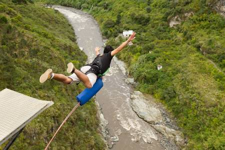 cliff jumping: bungee jumping sequence in banos de agua Santa, Ecuador, san francisco bridge