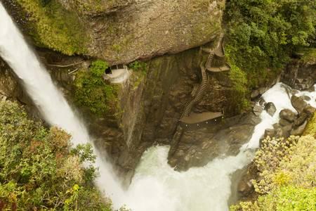 ecuador: pailon del diablo, devils cauldron in ecuadorian rainforest shoot from a very difficult climbing position.