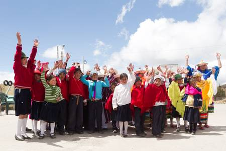 Salasaca,Ecuador - October 1,2012: Group of childrens from local school arranged for a group photo during a visit from Plan International officials. Editorial