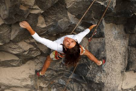 Rock climber , shallow depth of field focus on the eyes. Stock Photo - 16250787