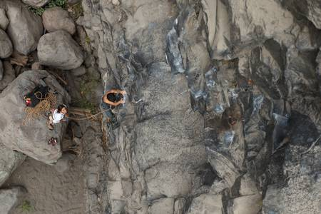 Rock climbers, high point of view focus on the climber Stock Photo - 16250795