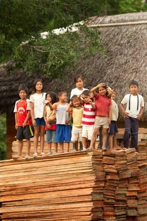 amazonia: Puni Bocana,Ecuador - November 16,2012: Group of ocal kids gathers to salute the tourists in their village, Puni Bocana, Ecuadorian Amazonia