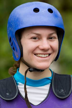 adult woman wearing typical water sport outfit photo