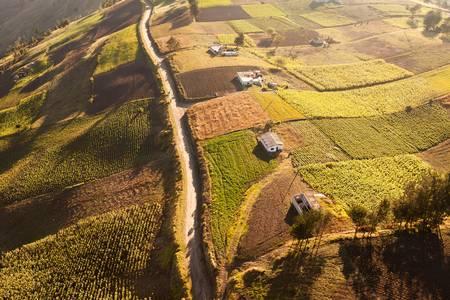 Letecký pohled na obdělávané půdy, nízká nadmořská výška