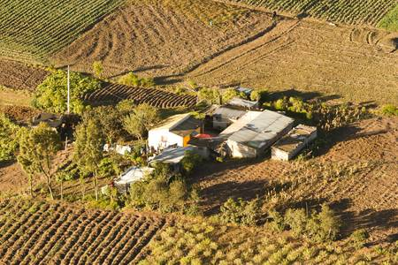 small farm in ecuadorian andes, aerial view photo