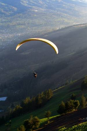 farmed: paraglider over farmed land in beautiful sunset light ,seen from air