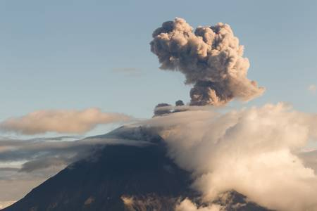 tungurahua: tungurahua volcano explosion at sunset, ecuador, south america Stock Photo