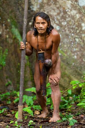 typical huaorani hunter portrait, waorani reserve, yasuni national park, ecuador. shoot in the jungle in ambient light. Stock Photo - 17335153