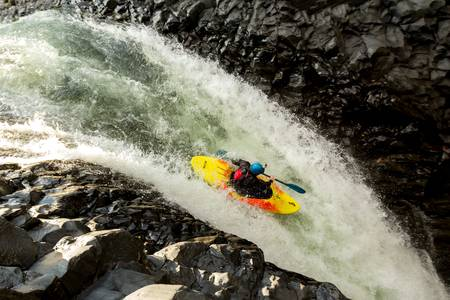 dynamic activity: waterfall kayak jump, aprox hight 45 feet high Stock Photo