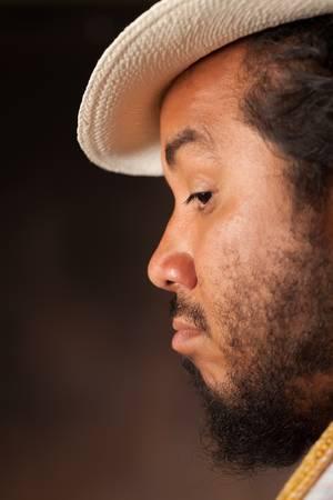 profile closeup of a curious man photo