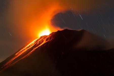tungurahua volcano erupting , ecuador, south america