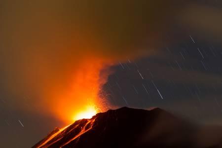 tungurahua volcano erupting , ecuador, south america photo