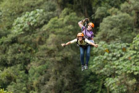 zipline adventure in ecuadorian rainforest, banos de agua santa Reklamní fotografie