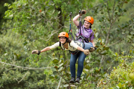 canopy: zipline adventure in ecuadorian rainforest, banos de agua santa Stock Photo