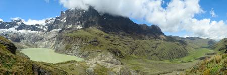 vulcanology: el altar volcano panorama, esw view, sangay national park in ecuador.