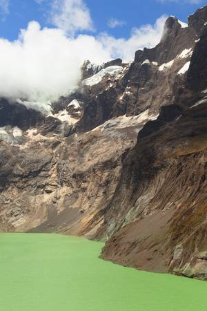 vulcanology: el altar volcano in sangay national park, ecuador. the green crater lake is the result of the melting glacier.