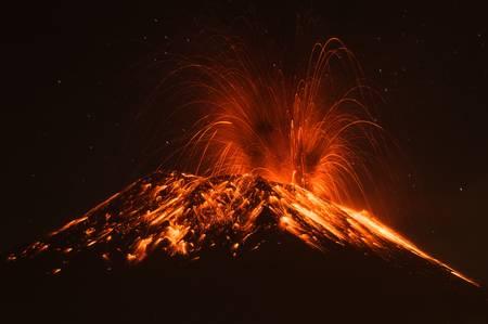 volcanic: tungurahua volcano erupting , ecuador, south america