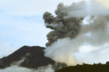 tungurahua volcano erupting on 5th of may 2013. ecuador, south america photo