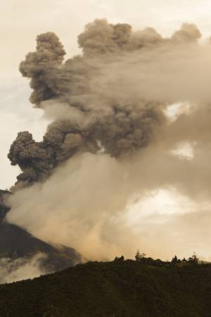 vulcanology: tungurahua volcano erupting on 5th of may 2013. ecuador, south america