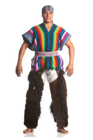 barefoot man: ecuadorian dancer dressed up in traditional costume from the highlands, llama or alpaca pants. studio shot isolated on white.