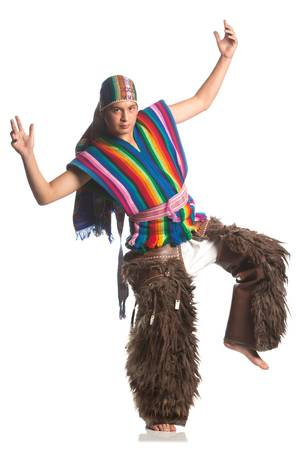 quechua: ecuadorian dancer dressed up in traditional costume from the highlands, llama or alpaca pants. studio shot isolated on white.