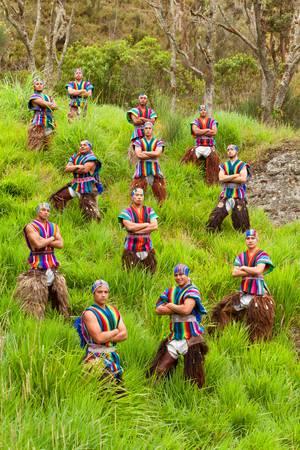 ecuadorian: ecuadorian folkloric group , dressed up in traditional costumes, outdoor shot