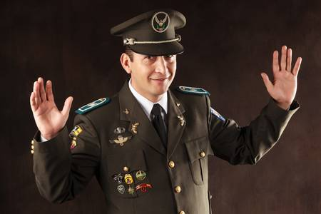 ecuadorian police official dressed up in formal uniform photo