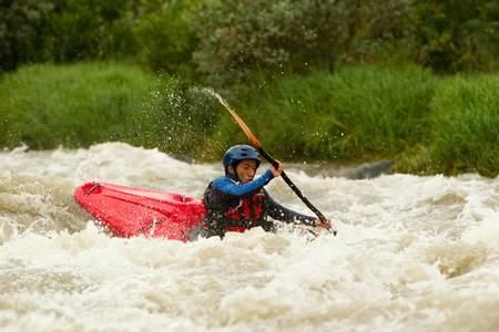 rafting: river rafting in kayak, ecuador , south america