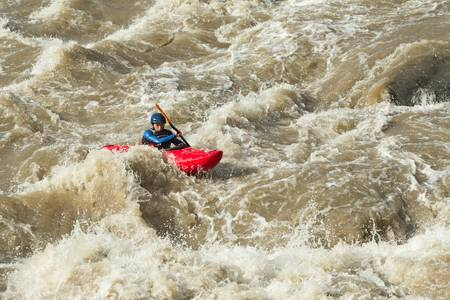 River rafting in kayak, Ecuador , South America photo