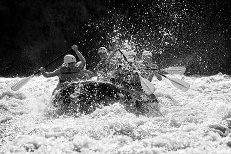 a group of men and women, with a guide, white water rafting on the patate river, ecuador Stock Photo - 20997034