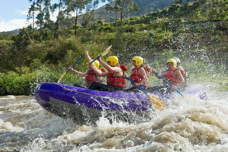 a group of men and women, with a guide, white water rafting on the patate river, ecuador Banco de Imagens