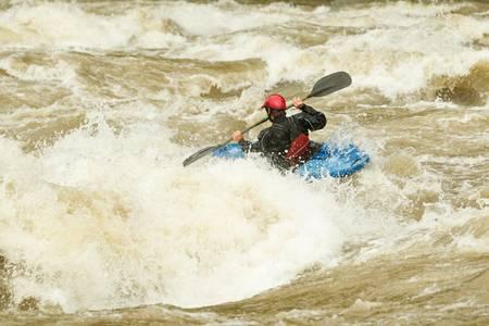 whitewater: river rafting in kayak, ecuador , south america