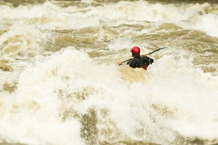 whitewater: whitewater kayaking, level five difficulty level Stock Photo