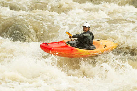 dynamic activity: whitewater kayaking, level five difficulty level Stock Photo