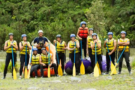 Large group of young people ready to go rafting photo