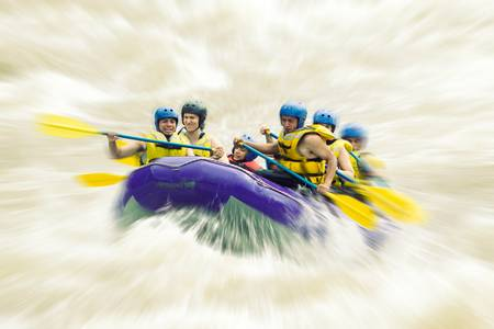 rafting: whitewater rafting blured in post production Stock Photo