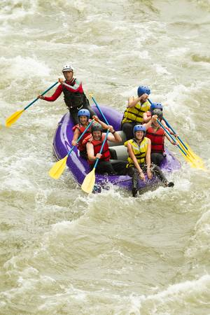 whitewater: whitewater rafting boat, group of seven people Stock Photo